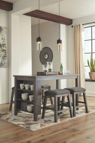Caitbrook Dark Gray 5 Pc. Rectangular Counter Table & 4 Upholstered Stools