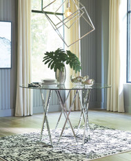 Madanere Chrome Finish Round Dining Room Table
