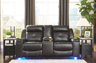 Kempten Black Double Rec Loveseat w/Console