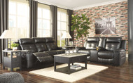 Kempten Black Reclining Sofa & DBL Reclining Loveseat with Console