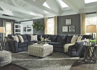 Eltmann Slate LAF Sofa with Corner Wedge, Armless Loveseat, Armless Chair, RAF Cuddler Sectional & Accent Ottoman