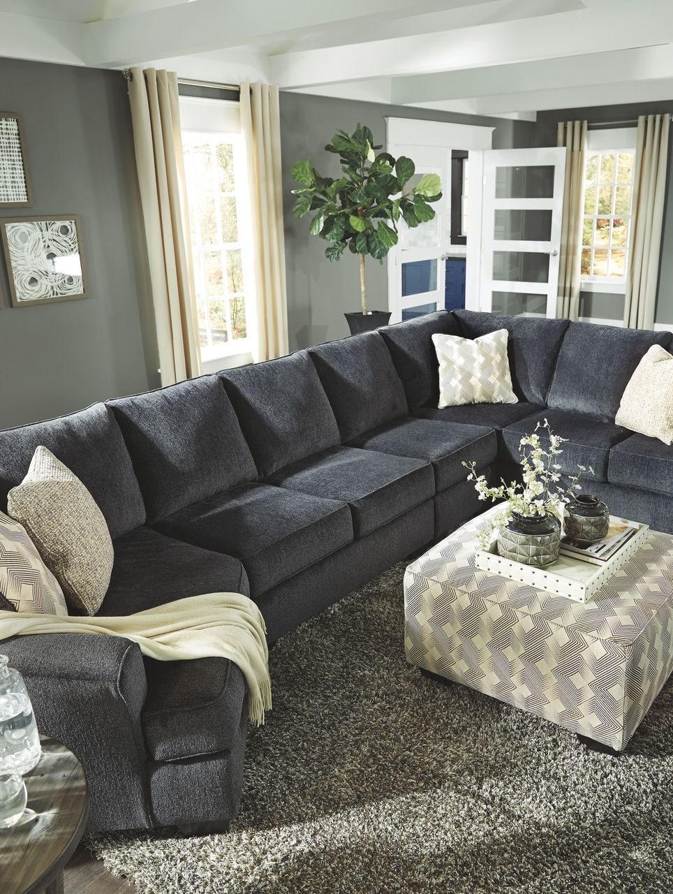 official photos 1c466 ab3a0 Eltmann Slate LAF Cuddler, Armless Loveseat, Armless Chair, RAF Sofa with  Corner Wedge Sectional & Accent Ottoman