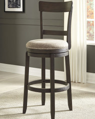 Drewing Brown Tall Upholstered Swivel Barstool(Set of 2)