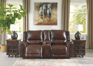 Catanzaro Mahogany Power Reclining Loveseat/CON/ADJ HDRST
