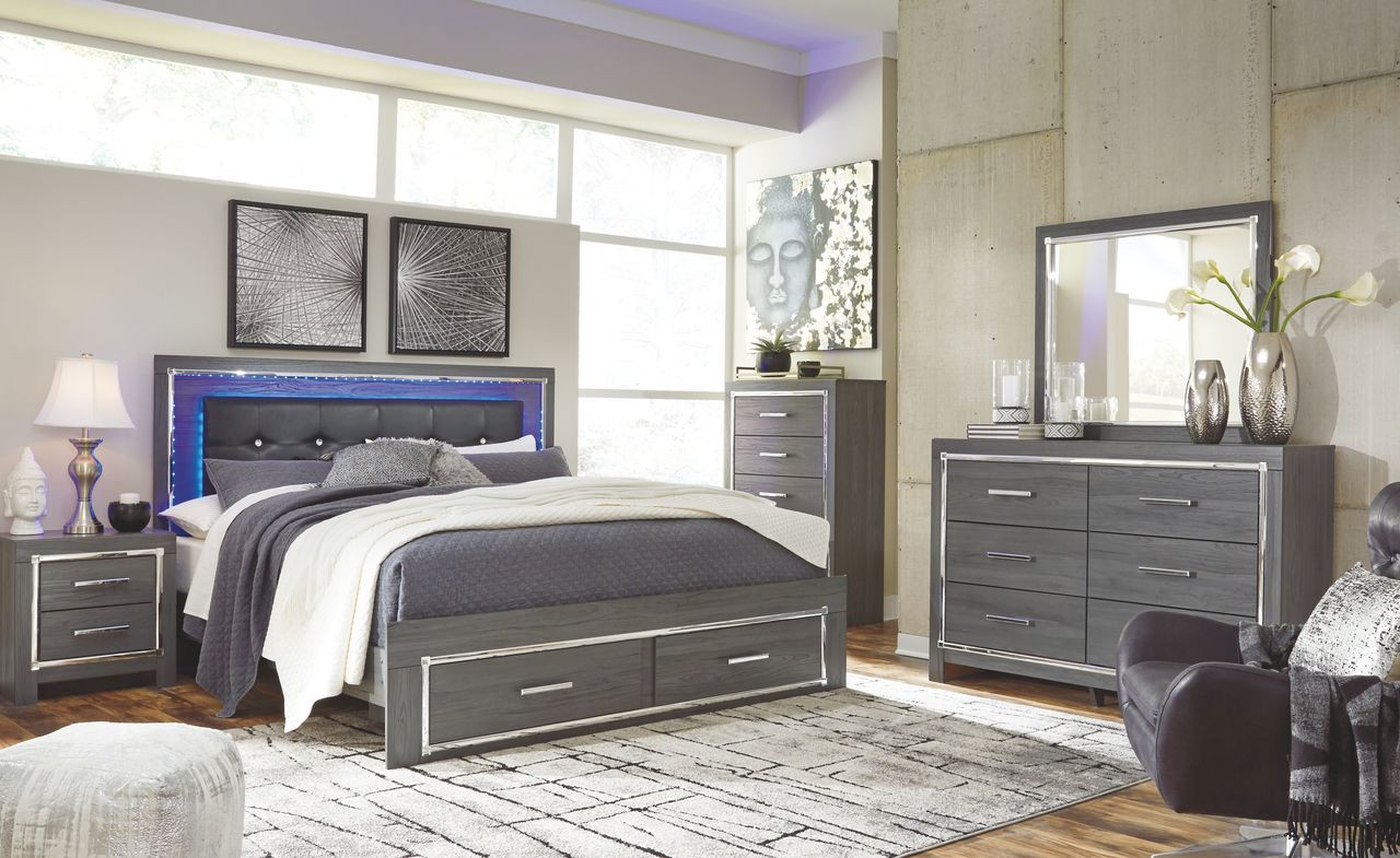 The Lodanna Gray 8 Pc Dresser Mirror Chest King Panel Bed With Storage 2 Nightstands Sold At Outten Brothers Of Salisbury Serving Salisbury Maryland And Surrounding Areas