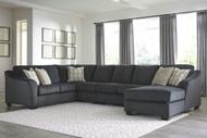 Eltmann Slate LAF Sofa with Corner Wedge, Armless Loveseat, Armless Chair & RAF Corner Chaise Sectional