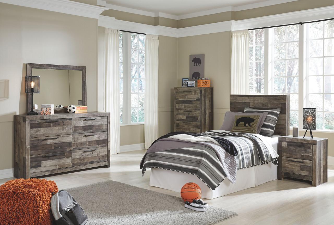 Derekson Multi Gray Twin Panel Headboard Dresser Mirror Chest Nightstand