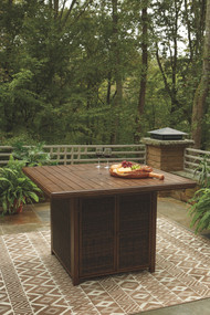 Paradise Trail Medium Brown Square Bar Table w/Fire Pit
