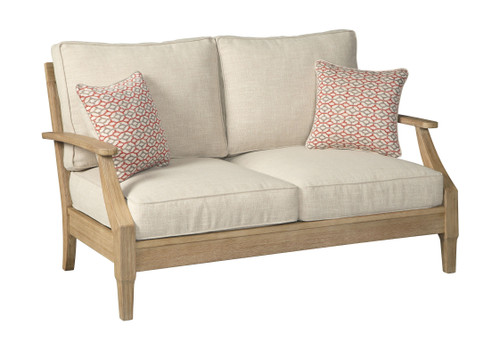 The Clare View Beige Loveseat w/Cushion sold at Outten ... on Clare View Beige Outdoor Living Room id=80187