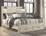 Cambeck Whitewash King Panel Bed with Storage
