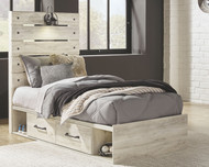 Cambeck Whitewash Twin Panel Bed with Side Storage