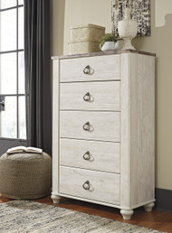 Willowton Five Drawer Chest- Two-tone