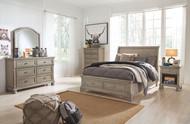 Lettner Light Gray 5 Pc. Dresser, Mirror & Full Sleigh Bed
