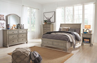 Lettner Light Gray 6 Pc. Dresser, Mirror, Full Sleigh Bed & Nightstand