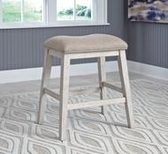Skempton White/Light Brown Upholstered Stool (Set of 2)
