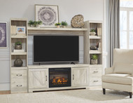 Bellaby Whitewash Entertainment Center LG TV Stand, 2 Piers, Bridge with Fireplace Insert Infrared