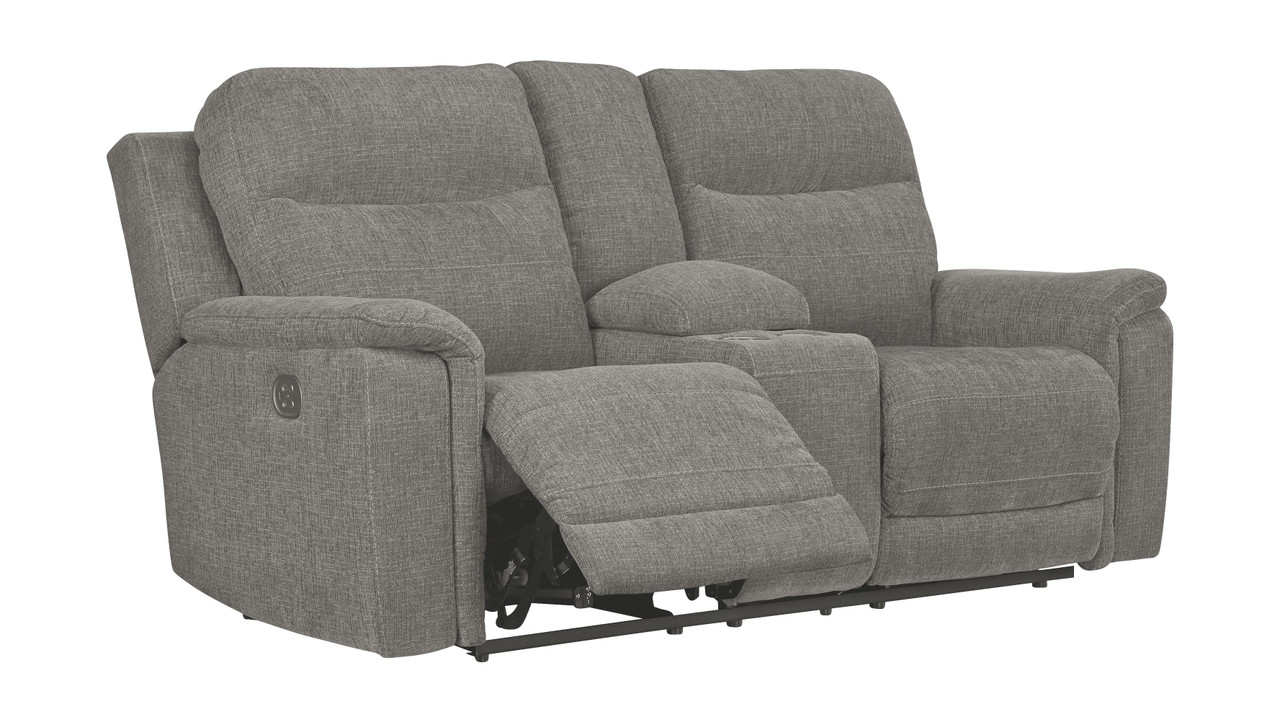 The Mouttrie Smoke Power Reclining Loveseat Con Adj Hdrst