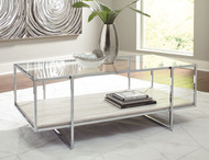 Bodalli Ivory/Chrome Rectangular Cocktail Table