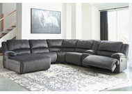 Clonmel Charcoal LAF Press Back Chaise, Armless Chair, Wedge, Armless Recliner, Console with Storage & RAF Zero Wall Recliner Sectional