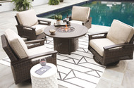 Paradise Trail Medium Brown Conversation Set with 4 Swivel Lounge Chairs