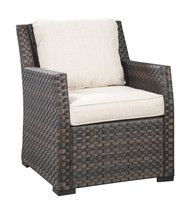 Easy Isle Dark Brown/Beige Lounge Chair w/Cushion (1/CN)