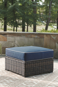 Grasson Lane Brown/Blue Ottoman with Cushion