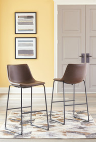 Centiar Brown Tall Upholstered Barstool (Set of 2)