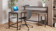 Arlenbry Gray L-Desk with Storage & Swivel Desk Chair