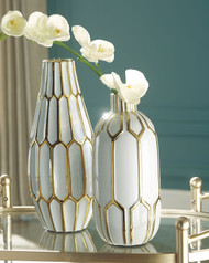Mohsen Gold Finish/White Vase Set (2/CN)