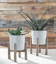 Domele Antique Gray/Brown Planter Set (2/CN)