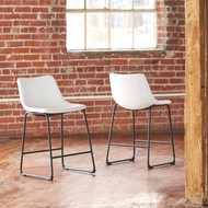 Centiar White Upholstered Barstool (Set of 2)