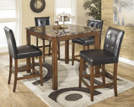 Theo 5-Piece Counter Height Dining Set- Warm Brown
