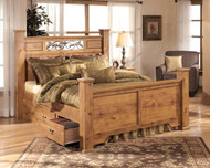 Bittersweet Light Brown Queen Poster Bed with 2 Storage Drawers