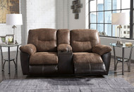 Follett Coffee Double Reclining Loveseat with Console