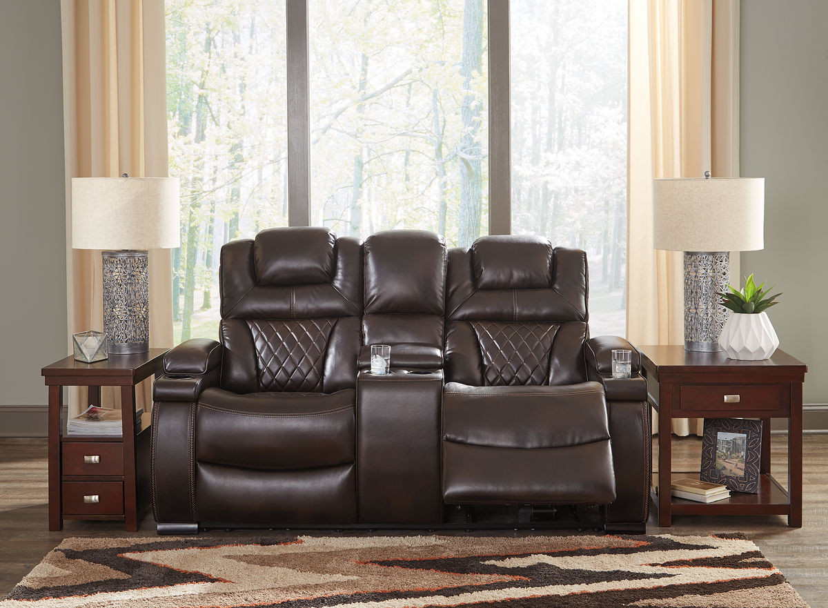 Terrific Warnerton Chocolate Power Reclining Loveseat Console Adjustable Headrest Onthecornerstone Fun Painted Chair Ideas Images Onthecornerstoneorg