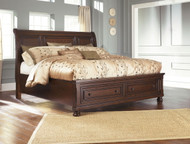 Porter Rustic Brown California King Sleigh Storage Bed