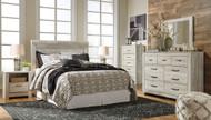 Bellaby Whitewash 4 Pc. Dresser, Mirror, Chest & Queen Panel Headboard Bed
