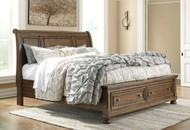 Flynnter Medium Brown King Sleigh Storage Bed