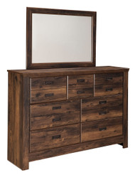 Quinden Dark Brown Dresser & Mirror