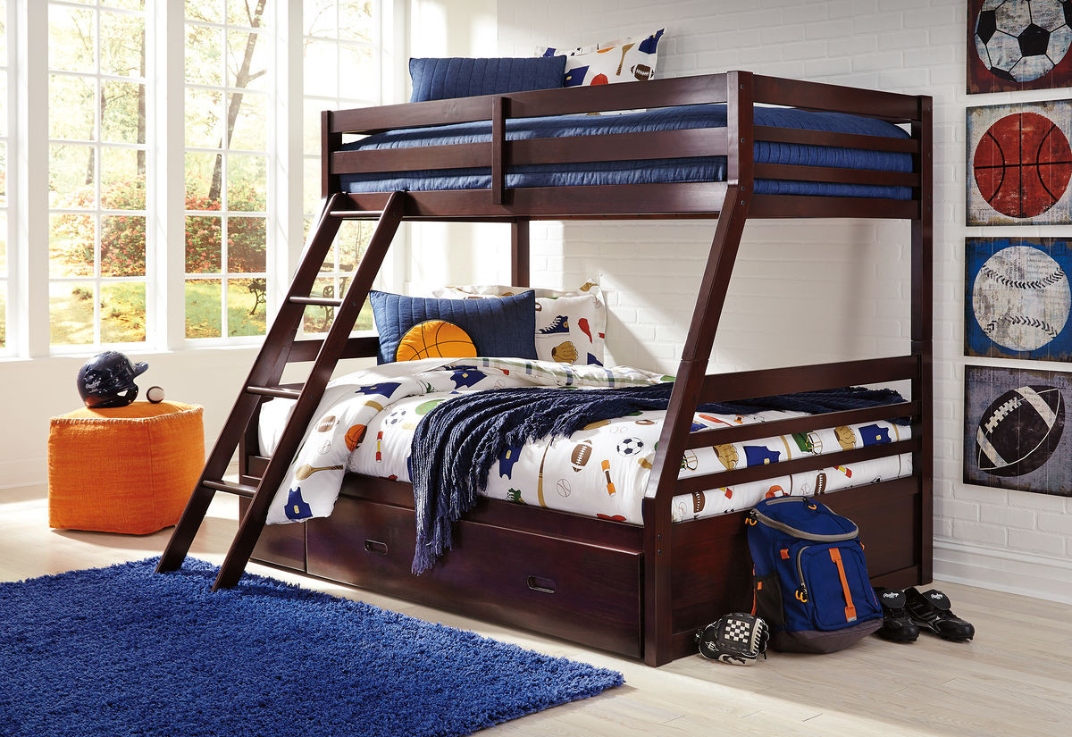 Image of: The Halanton Dark Brown Twin Full Bunk Bed With Ladder Bunk Bed Rails With Under Bed Storage Sold At Outten Brothers Of Salisbury Serving Salisbury Maryland And Surrounding Areas