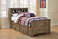 Trinell Brown Twin Bookcase Bed with Under Bed Storage