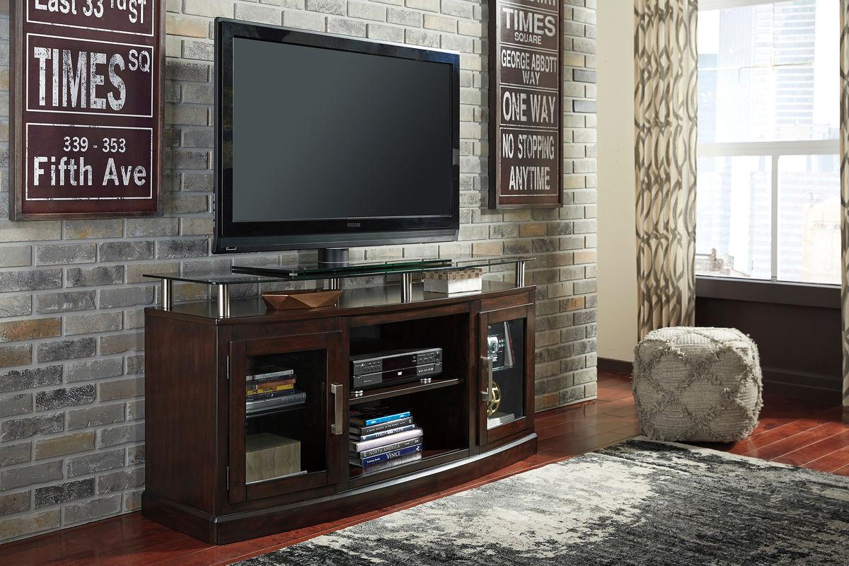 The Chanceen Dark Brown Medium Tv Stand Fireplace Option
