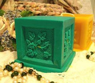 Silicone Raised Ivy Panel Square Pillar Candle Mold