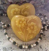 Silicone Heart With Raised Flowers Soap Candle Mold #1
