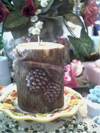 Raised Tree Log W/Pinecone  LARGE