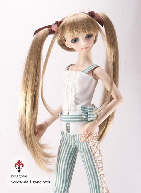 """30959 Dollzone MSD 7""""-8"""" Wig Twin Tail Golden Brown"""
