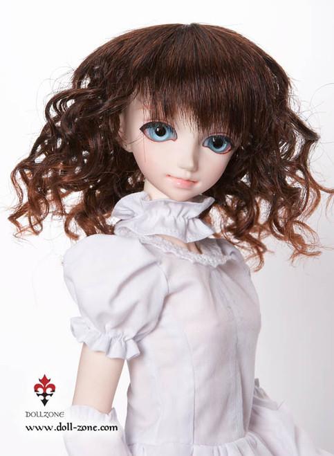 """W45-007 Dollzone MSD 7""""-8"""" Wig Short Wavy Dark Brown"""