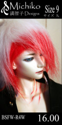 "BSFW-R4W-9 Michiko Designs Wig 9"" Faux Fur Red and White Mix"