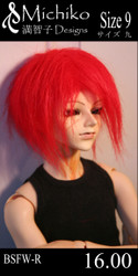 "BSFW-R-9 Michiko Designs Wig 9"" Faux Fur Red"