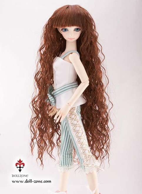 "30166B Dollzone MSD 7""-8"" Wig Long Curly Brown"